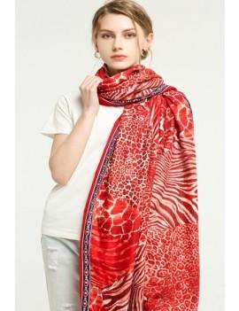 écharpe imprimée- rouge-blanc